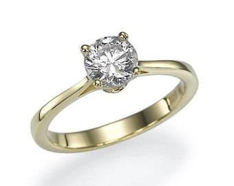 "Natural GIA Diamond Engagement Ring 0.57 carat J/VS2 ""Romance"" Yellow/ Rose gold 14k 100% Natural Solitaire Diamond weddings Free shipment"