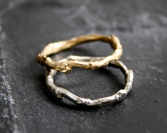 Lovely organic BranchTwig Wedding bands in 14kt yellow or