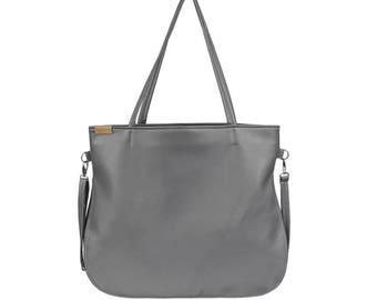 Grey vegan bag Shoulder bag Grey cross body bag Vegan leather bags Grey large tote bag Weekender Vegan handbag grey Everyday large bag BPC