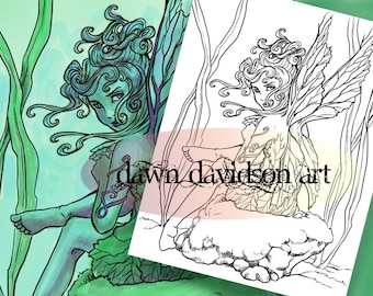 Colouring Page, Coloring Page, Fairy Coloring, Colouring, Adult Coloring Page, Instant Download, Fantasy Coloring, Colouring for Grownups