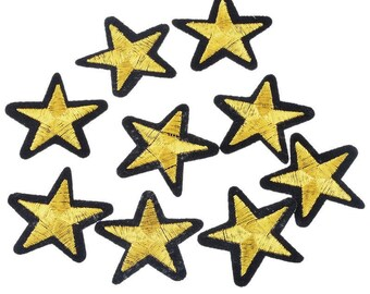 5 pcs Iron On Embroidered Gold Star Patch Applique, Gold Star Patch, Gold Star Applique iron on, Patch, USA Seller,