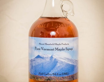 Mansfield Maple Half Gallon Pure Vermont Maple Syrup in Glass Bottle (Choice of Grade)