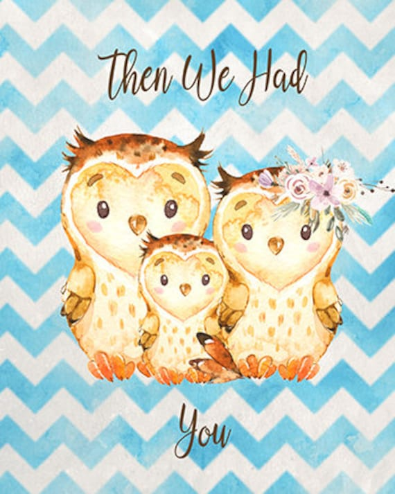OWLS Nursery Wall Art Owls Baby Boy Nursery WALL ART Blue