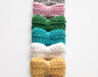 MEDIUM Pastel Crochet Hair Bows - Crochet Hair Clips - Medium Hair Bows - Fall Hair Bows - Pastel Hair Bows - Crocheted Hair Bows