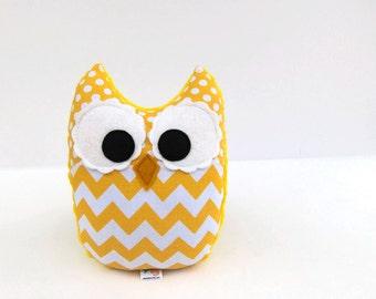 Yellow Chevron Owl Plush Baby Toy Minky Softie Mini Pillow