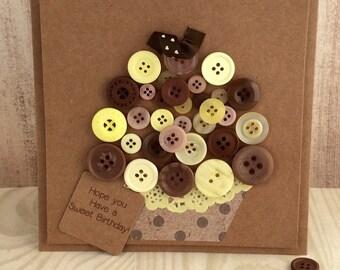 Handmade Button Cupcake Birthday Card Chocolate