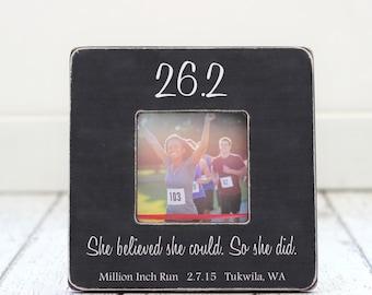 Marathon Picture Frame GIFT Finish Line 26.2 Personalized First Marathon Runner Gift