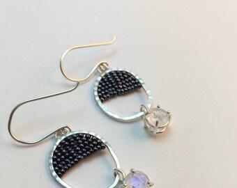 Rainbow Moonstone Beaded Earrings