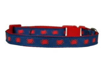 "Preppy Crab Collar 3/8"" Red Teacup Dog or Cat Collar"