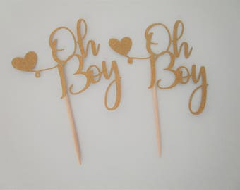 12 Count Oh Boy Cupcake Toppers – Baby Shower Toppers – Birthday Toppers – Decoration Toppers – Glitter Toppers – Party Toppers