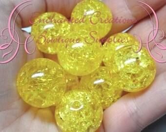 20mm Yellow Crackle Beads, Chunky Beads, Bubblegum Beads, Gumball Beads, Chunky Jewelry Beads, Acrylic, Gum Ball Bead, Large Bead
