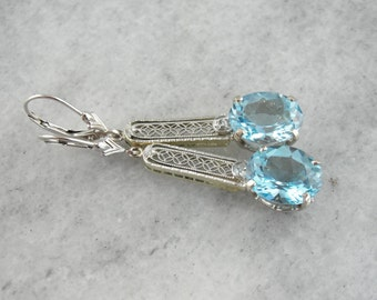 Beautiful Blue Topaz and Diamond Filigree Drop Earrings, Upcycled Antique White Gold Bridal Earrings  YWP7W9-P