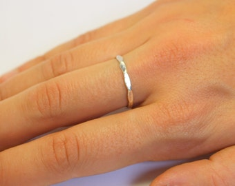 Sterling Silver 925 Stacking Ring - Hammered Band Thin stackable handmade silver ring