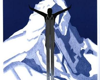 Vintage Zermatt Switzerland Winter Sports Poster A3/A2/A1 Print