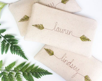 Personalized Bridesmaid Gift Set, Rustic Wedding, Gifts, Custom Bridesmaid Clutch, Woodland Fern Greenery, Botanical, Bags and Purses, Green