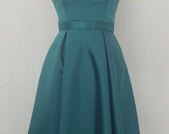 Green Emerald Satin Swing Pleated Dress with Cut at Neckline Mother Of The Bride Dress