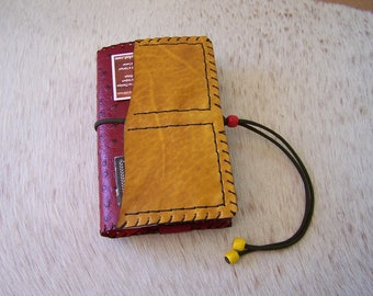 Handmade book Paperback (adjustable from 150 to 900 pages) red and yellow leather cover