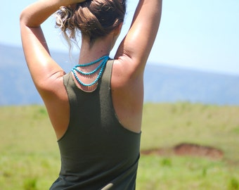 Yoga Layering Racerback Tank Top for Women - Olive - Eco Friendly Jersey -  Organic Clothing