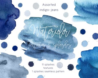High quality hand-painted watercolor splashes, spots, seamless pattern textures in assorted range of blue, indigo, denim, jeans, brushstroke