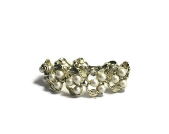 Faux Pearl and Gold Tone Bracelet, Vintage 1950s Bracelet, Costume Jewelry
