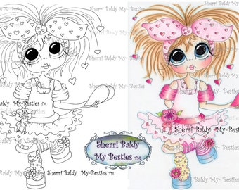 INSTANT DOWNLOAD Digital Digi Stamps Big Eyed  My Bestie Digi Stamp Besties Big Head Dolls Digi IMG843 By Sherri Baldy