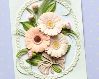 Sunny Gerbera Daisies Quilling Card - Sunny Gerbera Daisies Quilled Card- Birthday Quilling Card - Love Quilling Card