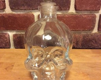New Price Skull Bottle Decanter Upcycled Large Glass, Crystal Head Vodka, Steampunk, gift for him or her, man cave, she shack,unique