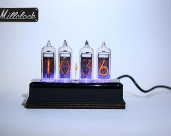 IN-14 Nixie tube Clock assembled with black acrylic and wood ENCLOSURE and adapter 4-tubes by MILLCLOCK