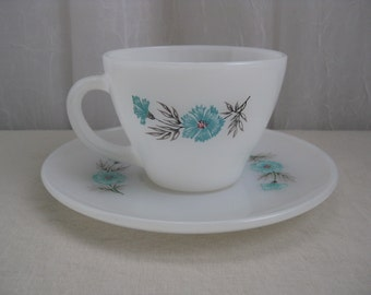 Vintage Mid Century Blue Flower Milk Glass Cup and Saucer Set Fire King Anchor Hocking