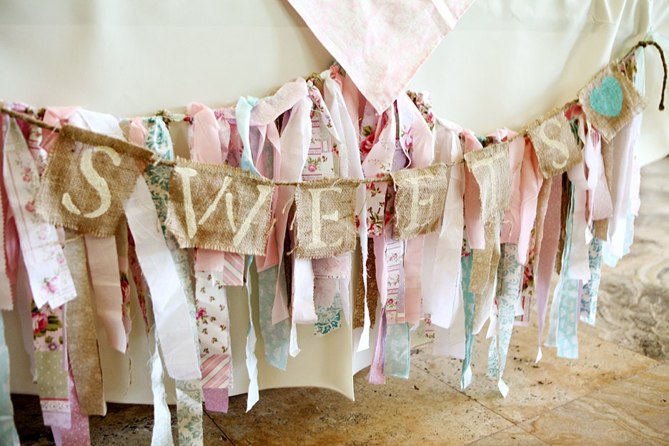 Fabric Banner Shabby Chic Garland Photo Prop Party Decor