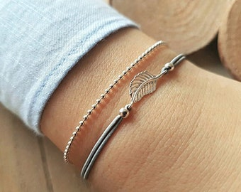 Bracelet Feather 925 silver ball necklace