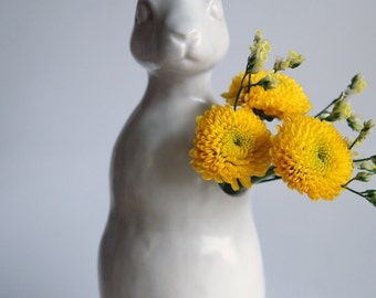 rabbit budvase - hand-made porcelain flower vase