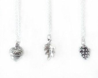 Silver Chain Charm Pendant Necklace - Acorn, Oak Leaf, Fir Cone - Silver - The Basics: Autumn Flora