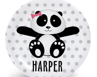 Personalized Panda Plate - Panda with Bow - Melamine Plate, Bowl, Mug, Placemat - Tableware Set - Custom Personalized with Childs Name