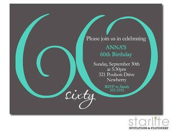 60th Birthday Invitation Printable, 60th Birthday Invitations, Men or Women ANY AGE Ending in ZERO, Teal Grey, Digital or Printed