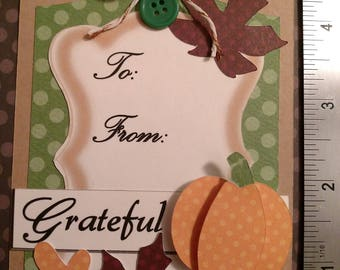 Thanksgiving Gift Tag, Fall Gift Tag, Oversized Gift Tag, Shabby Chic  Gift Tag, Kraft Paper Gift Tag