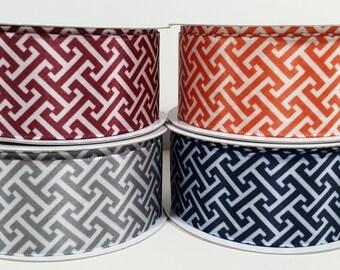 "1 1/2"" Satin Greek Key Print Ribbon - Orange - 10 Yards"