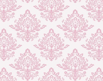 Damask, Pink White,  Quilting Cotton, French Rose,  by David Textiles, Cotton Fabric, Damask Sale, Precut  - FAT QUARTER