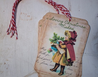 Christmas Gift Tags Christmas Wishes Vintage Style Tags Shabby Chic Style Christmas Tags Children and Gifts Christmas Tags Gift Wrap Package