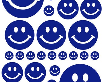 56 Navy Blue Smiley Face Vinyl Polka Dots Bedroom Wall Decals Stickers Teen Kids Nursery Dorm Room Removable Custom Made Easy to Install