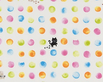 Dotty Cats - Cream 1800-1A by Cosmo Textiles Cotton Fabric Yardage