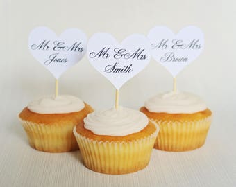 8 Custom Wedding Cupcake Toppers
