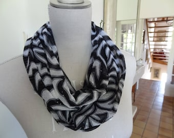 Infinity scarf with black and white polyester with Rhinestones