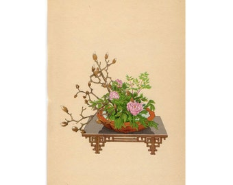 1935 IKEBANA JAPANESE FLOWER arrangement print original vintage botanical lithograph - magnolia & peony flowers