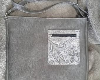 Grey leather and fabric handbag gray/beige, Unique print!