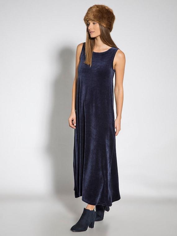 Navy Blau samt Kleid ärmellos Maxi Kleid Mode Kleider