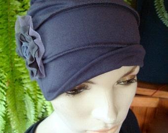 Chemo Hat chemotherapy hat chemo Turban slouchy Hat dark grey