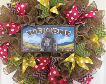 Black Standard Poodle Welcome Wreath