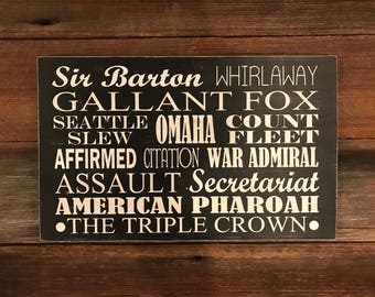 The Triple Crown wood sign
