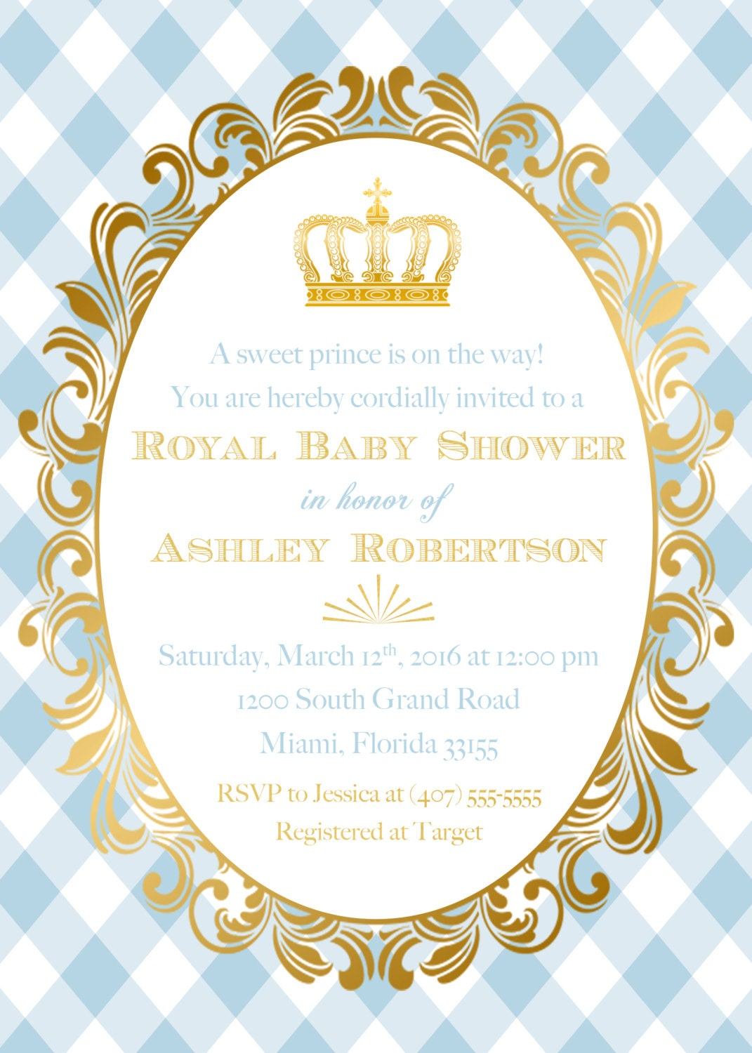 Prince Baby Shower Invitation, Royal Baby Shower, Gold Foil Crown ...